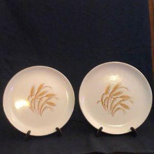 2  Golden Wheat Bread Plates